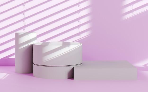 Studio renderowania 3d z geometrycznymi kształtami podium na makiecie podłogowej