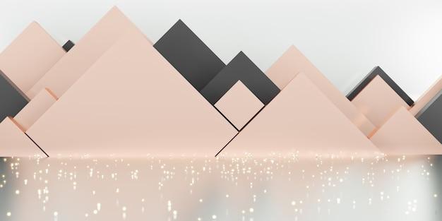 Studio sceny geometria różowe złoto tło luksusowa musująca ilustracja 3d