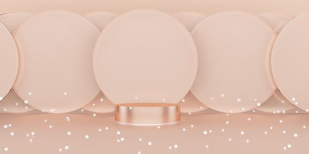 Studio sceny różowe złoto tło luksusowa musująca ilustracja 3d