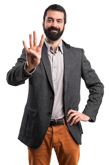 Studio szczęśliwy brunetka komunikacji gesturing