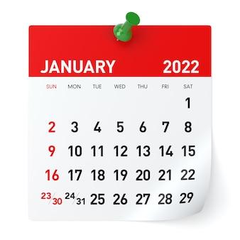 Styczeń 2022 - kalendarz. na białym tle. ilustracja 3d