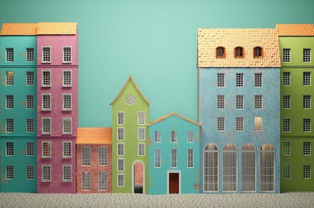 Styl kreskówki starego miasta. wysokiej jakości renderowanie