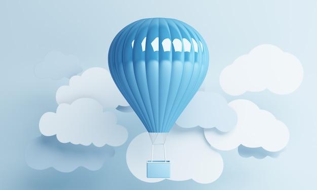 Styl sztuki papieru balon powietrzny z renderowania 3d w tle niebieskiego pastelowego nieba