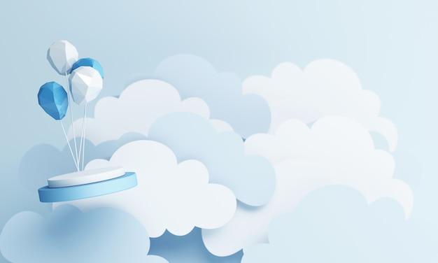 Styl sztuki papieru z balonu powietrznego i stojak na produkt z renderowaniem 3d niebieskim pastelowym niebem
