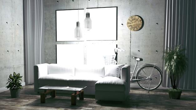 Styl wnętrza salonu w stylu loft. renderowanie 3d