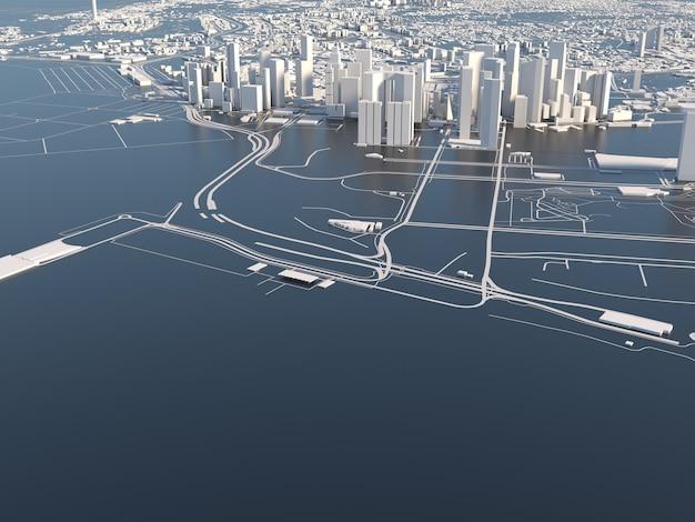 Stylizowane grafiki miasta singapuru renderowania 3d