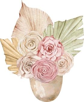 Stylizowany akwarela bukiet róż i kremowych róż i liści palmy w doniczce. kwiaty w wazonie.