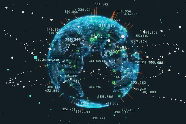 Stylizowany rendering ziemi przedstawiający współczesną epokę cyfrową i jej nacisk na globalną łączność wśród ludzi 3d ilustracji