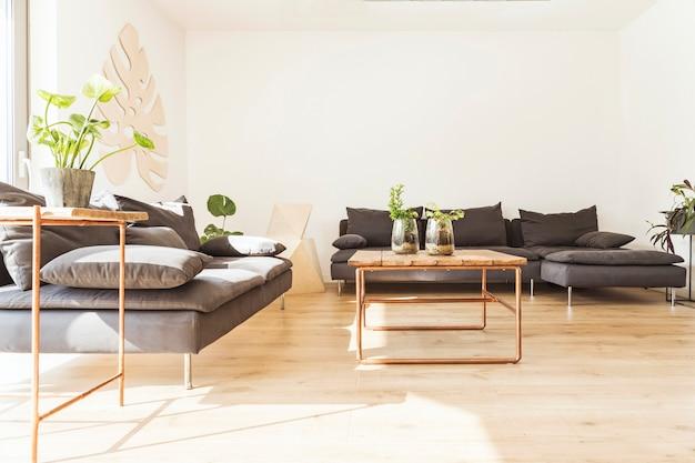 Stylowa kompozycja kreatywnego, przestronnego wnętrza salonu z sofami, fotelem, stolikiem kawowym, roślinami i dodatkami. ściany neutralne.