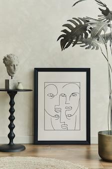 Stylowa kompozycja kreatywnego wnętrza salonu z makietą ramki plakatowej szablon