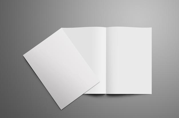 Stylowa makieta z dwiema pustą broszurą bifold a4 a5 na szarym tle