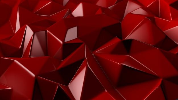 Stylowe czerwone tło kryształu. ilustracja, renderowanie 3d.