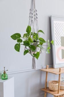 Stylowe i minimalistyczne wnętrze salonu boho z drewnianą półką, designem i eleganckimi dodatkami, ręcznie robiony wieszak na doniczki z makramą. botanika i wystrój domu z dużą ilością roślin.