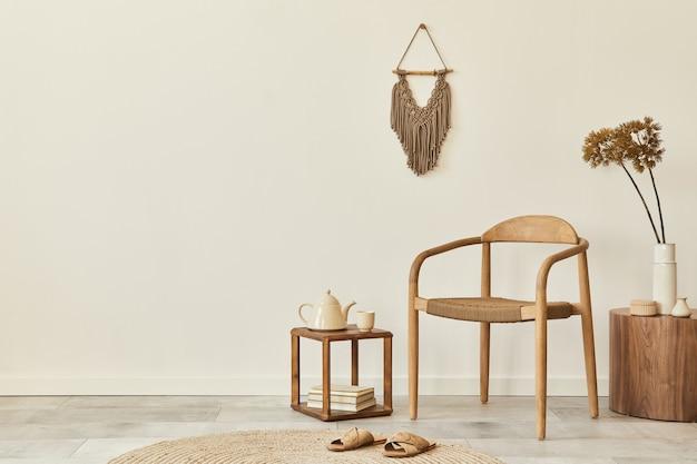 Stylowe, nowoczesne, unikalne wnętrze skandynawskiego salonu z szablonem przestrzeni kopii fotela
