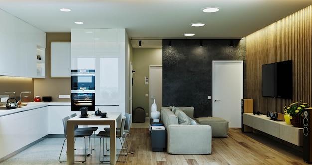 Stylowe nowoczesne wnętrze mieszkania z pięknym widokiem