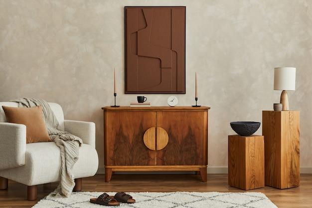 Stylowe nowoczesne wnętrze salonu z malowaniem struktury fotel vintage komoda szablon