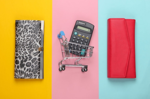 Stylowe portfele, wózek na zakupy z kalkulatorem na kolorowym.