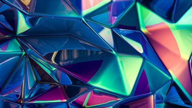Stylowe wielokolorowe kryształowe tło. ilustracja, renderowanie 3d.