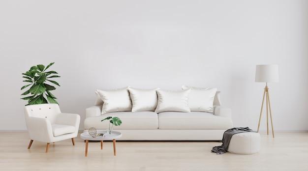 Stylowe wnętrze jasnego salonu z białą sofą i fotelem, lampą podłogową, rośliną i stolikiem kawowym z dekoracją. makieta wnętrza salonu. pokój o nowoczesnym wystroju z jasnym światłem dziennym. renderowania 3d