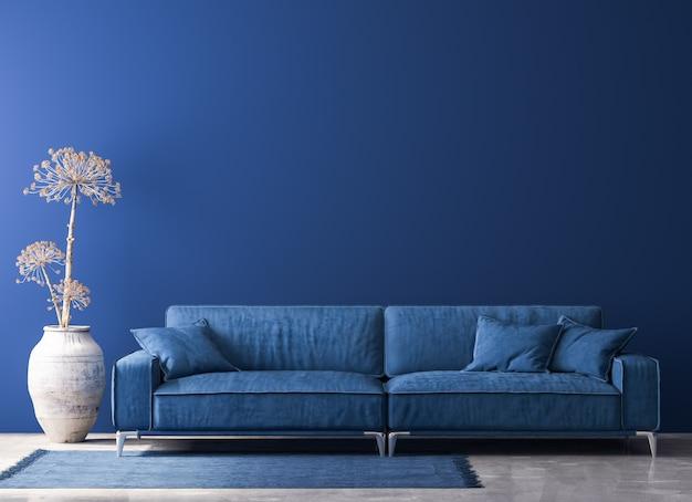 Stylowe wnętrze salonu w modnym niebieskim kolorze