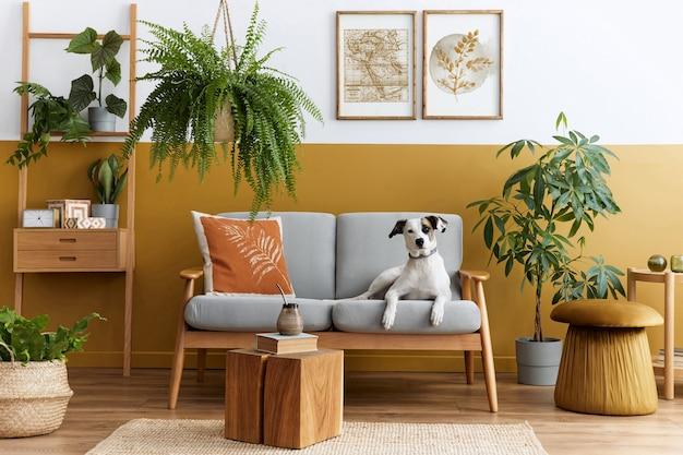 Stylowe wnętrze salonu z designerskimi meblami, złotą pufą, rośliną, ramkami na plakaty, dywanikiem, akcesoriami i pięknym psem leżącym na sofie w przytulnym wystroju domu