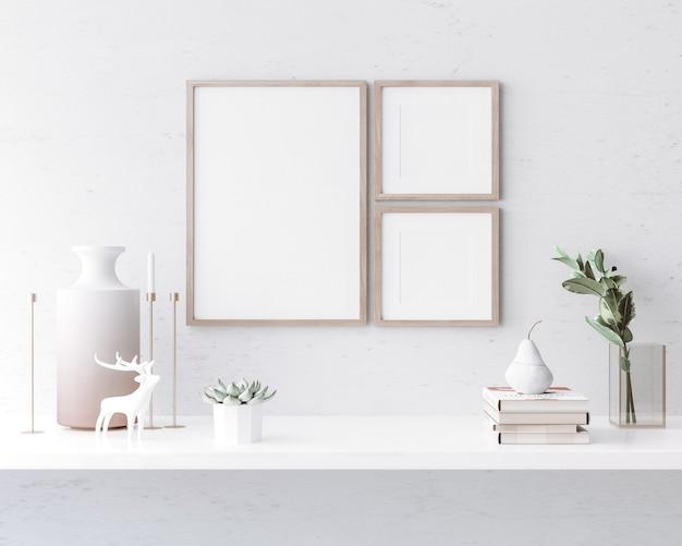 Stylowe wnętrze salonu z jasną ramą plakatową