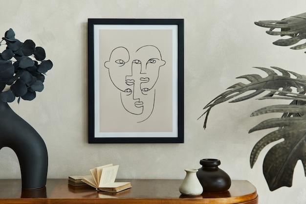 Stylowe wnętrze salonu z makietą komody na plakat i eleganckim szablonem akcesoriów