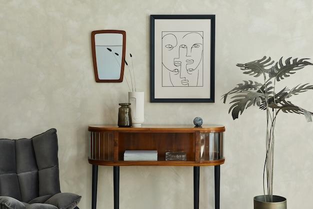 Stylowe wnętrze salonu z makietą komody na plakat i eleganckimi dodatkami szablon
