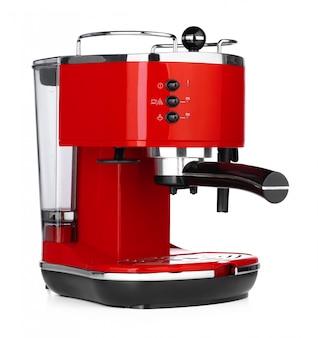 Stylowy czerwony ekspres do kawy na białym tle