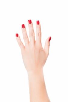 Stylowy modny kobiecy manicure. czerwone paznokcie do manicure