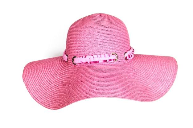 Stylowy różowy kapelusz na białym z bliska
