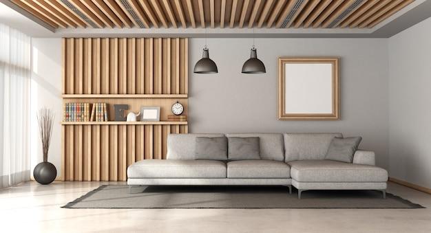 Stylowy salon w stylu skandynawskim z dużą szarą sofą i drewnianym panelem z półką na tle - renderowanie 3d