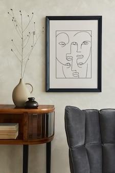 Stylowy salon z makietą komodą na plakat i osobistymi akcesoriami szablon