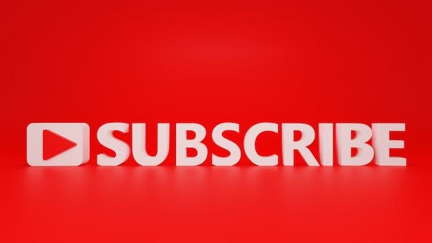 Subskrybuj tekst z ikoną odtwarzania i czerwonym tłem w projekcie 3d