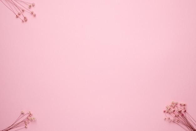 Sucha gałąź kwiatu na pastelowym różowym tle. trend, minimalna suszona koncepcja z widokiem z góry copyspace