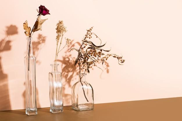 Suche kwiaty i gałęzie w kryształowych słoikach na różowym tle