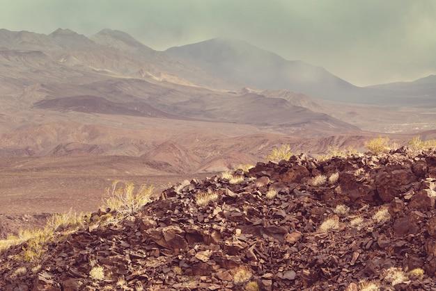 Suche, opuszczone krajobrazy w parku narodowym doliny śmierci w kalifornii