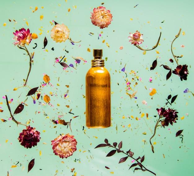 Suche ziele bellis z kwiatami i butelką perfum na zielonym tle na białym tle. bez cieni