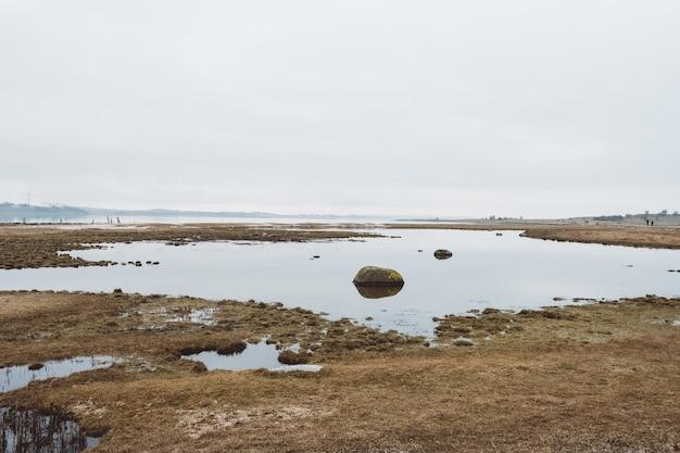 Suchy krajobraz pełen wody pod zachmurzonym niebem