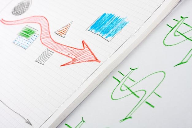Sukces biznes szkic z czerwoną strzałką wskazującą na symbol pieniędzy