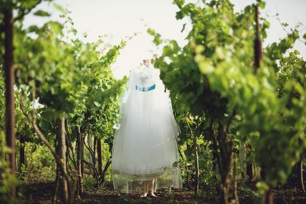 Suknia ślubna wisi na drzewie