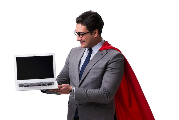 Super bohater biznesmen na białym tle