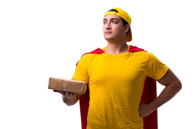 Super bohater dostawy facet na białym tle