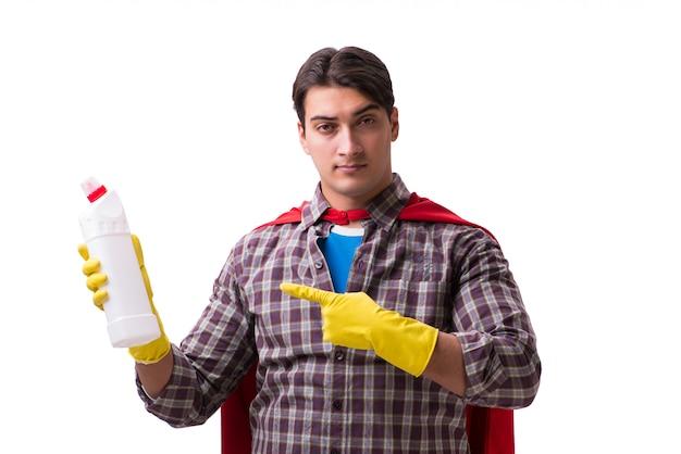 Super bohatera cleaner odizolowywający na bielu