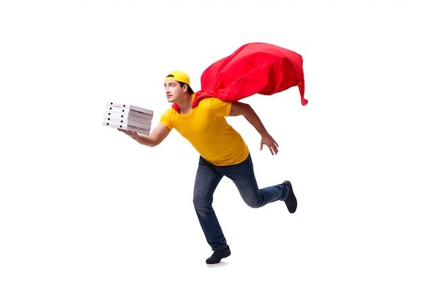 Super bohatera pizzy doręczeniowy facet odizolowywający na bielu