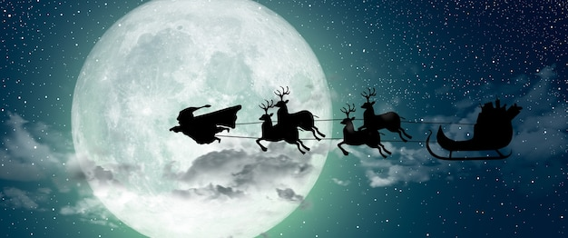 Super święty mikołaj lecący nad księżycem w pełni, prowadzący swojego renifera w nocy boże narodzenie