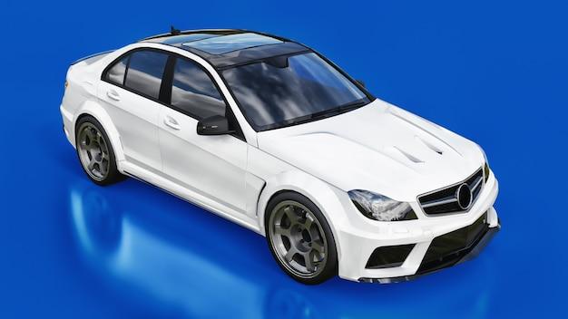 Super szybki biały samochód sportowy na niebieskiej powierzchni