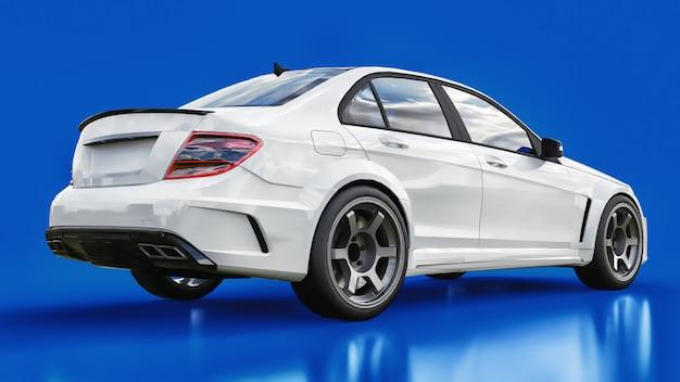 Super szybki biały samochód sportowy renderowania 3d