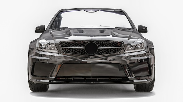 Super szybki samochód sportowy czarny kolor na białym tle. sedan w kształcie nadwozia. tuning to wersja zwykłego samochodu rodzinnego. renderowania 3d.