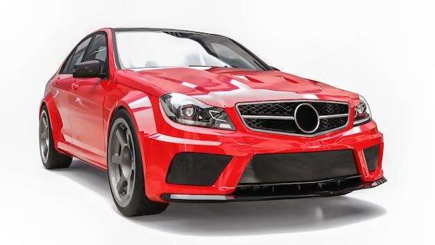 Super szybki samochód sportowy kolor czerwony metalik na białym tle. sedan w kształcie nadwozia. tuning to wersja zwykłego samochodu rodzinnego. renderowania 3d.